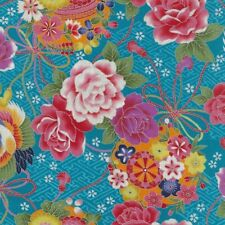 NUTEX FABRIC - 100% Cotton, Japanese metallic fabric - Toto - Denim (61810-103)