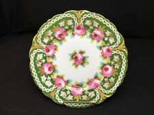 """Antique Elite Limoges 8&3/4"""" Plate Green & Gold With Pink Flowers"""