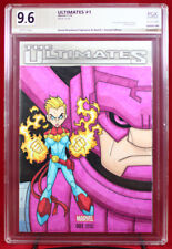 GALACTUS & CAPTAIN MARVEL PGX (not CGC) 9.6 NM+ Sketch Cover by DAVID WOODWARD!!