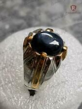 5 Ct Cabochon Star Sapphire in Dazzling 999 Sterling Silver Mens Ring Size 7-13
