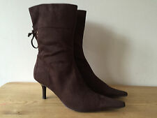 ZARA LADIES FAUX SUEDE BROWN ANKLE BOOTS UK4