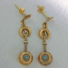 1880s Antique Victorian Estate 14k Solid Yellow Gold Turquoise Hanging Earrings