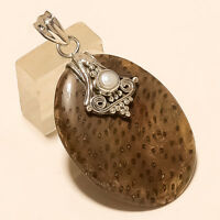 Natural Brazilian Snakeskin Jasper Pendant 925 Sterling Silver Fine Jewelry Gift
