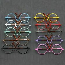 Colorful Doll Glasses Miniature Eyewear Metal Frame Round-Shaped Clear Lens