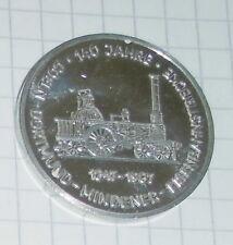 andenken medaille 140 jahre eisenbahnstrecke coeln dortmund mindener 1847 - 1987