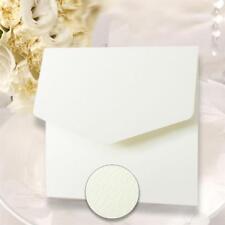 10 SQUARE WHITE TEXTURED POCKETFOLD INVITES inc MATCHING ENVELOPE & BLANK INSERT