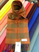 100% Cashmere Scarf by House of Cashmere | Orange Check | Warm Neutral colours