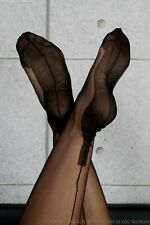 GIO FF Fully Fashioned Cuban Heel Seamed Stockings Black 10.5 L Large imperfects