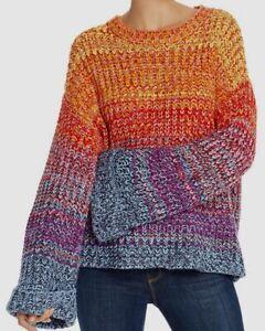 $198 Aqua Women Red Crew-Neck Long-Sleeve Rainbow Drop-Shoulder Marled Sweater S