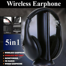 5 in 1 Wireless Headphones Earphones MP3 PC Stereo TV CD Cordless FM Radio ipod
