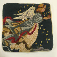 "Vintage Wool Needlepoint Handmade Accent Pillow Cover Christmas Angel 9.25"" Sq"