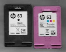 2 Empty HP 63 Black & Tricolor cartridges Never refilled