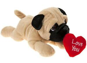 Pug 30cm With Love Heart Laying Dog Valentines Day Cuddly Soft Toy Teddy