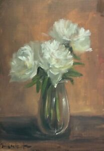 A3 print of Original oil painting floral ivory peonies shabby chic vintage style