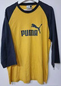 Puma 3/4 Sleeve Shirt Mustard Yellow & Blue Men's M / Medium   VINTAGE