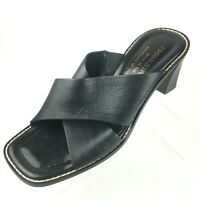 Donald J Pliner Black Leather Strap Heel Slide Sandals Italy Womens Size 6 M