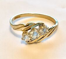 9ct Yellow Gold Three Stone Cubic Zirconia Ring Size 'N'