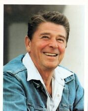 Ronald Reagan WH photo - jeans jacket - stamped Jack Knightlinger VG+ to FN
