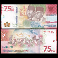 Indonesia 75,000 75000 Rupiah, 2020, 75th COMM. P-NEW, UNC