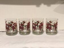 Four (4) Vintage Cera Holiday Reindeer Glasses - IOB
