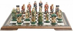 Robin Hood Hand Painted Chess Set & Special Marquetry Board Very Unique Set