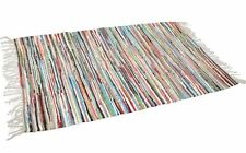 FAIR TRADE MULTI-COLOURED RAG RUG recycled cotton mat Indian rectangle 90 x 50cm