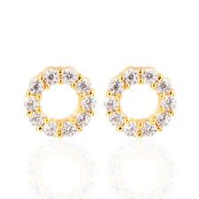 Women 18K Gold Plated Circle Shape Clear CZ Cubic Zirconia Stud Earrings Jewelry