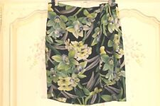 DANA BUCHMAN 100% Silk Tropical Floral Blk/Green Sarong Wrap Skirt 14P NEW Nice!