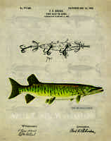 Vintage Fishing Lures Patent Art Print Muskie Fish Office Cabin Wall Decor Gift