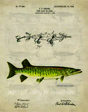 Fishing Lure Patent  Poster Art Print 11x14 Vintage  Muskie Bass Fish  PAT393
