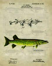 Fishing Lure Patent Art Print 11x14 Vintage Muskie Bass Fish Decor Gift  PAT393