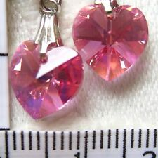 Handmade Earrings using SWAROVSKI element 1cm AB Crystal heart Rose pink CA1