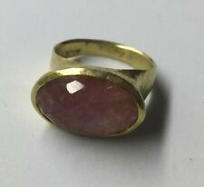22ct Hammered Design Ring With Rose Cut Pink Tourmaline