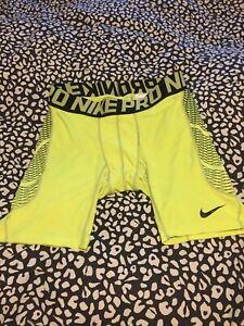 Mens Nike Pro Hypercool Compression Yellow shorts size xl