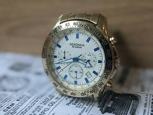 Gents Sekonda Chrono Tachymeter Ion Gold Plated 24hr Lume Date Watch - Working