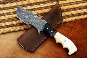 MH KNIVES CUSTOM HANDMADE DAMASCUS STEEL FULL TANG HUNTING/SKINNER KNIFE D-23U