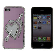Apple iPhone 4 4S 4G Light Pink Chrome Hearts Rhinestone Bling Case Cover Skin