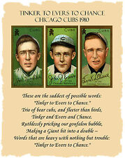 1910 Chicago Cubs Tinker to Evers to Chance Baseball Cards & Poem Art Print