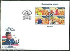 MALDIVE  ISLANDS 2014 MEMORIAL TRIBUTE TO NELSON MANDELA  CASTRO SHEET FDC