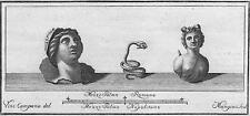 Antichità di Ercolano - Incisione su rame originale 1767 - Serpe e due figure