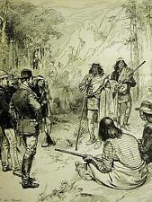 Apache Surrender CHIEF NANE GENERAL CROOK 1883 Antique West Indian Print Matted