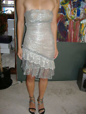 Versace Atelier Silver Lace Dress Never Worn Except In Pics - Rare & Beautiful!