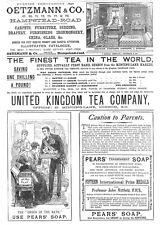 Victorian Adverts; Oetzmann & Co Furniture, UK Tea Co - Antique Print 1887