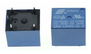 RELE' 12V DC RSD 250V 10A per circuito stampato 5 PIN relè relay PCB SRD-12VDC-C