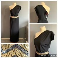 Women's Size 12 South Black Off The Shoulder Long Sequin Maxi Stretchy Dress