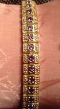 "Tanzanite And White Topz Sterling Silver 7-1/2"" Line Bracelet-4 ct"