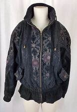 Vintage GIII Pink Floral Black Leather Motorcycle Bomber Jacket Womens S 1990's