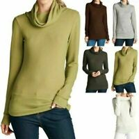 Women's Soft Solid Long Sleeve Cowl Neck Soft Hacci Fitted Casual Top