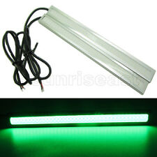 2 x Green COB Car LED Light DRL Daytime Runing Driving Fog Lamp Silver Aluminum
