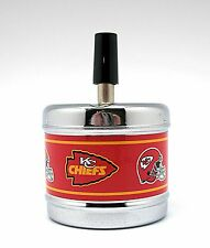 Push Down Spin Top Metal Ashtray - Kansas City Chiefs
